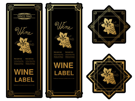 Vector black golden wine labels with grapes on white background. Rectangle and star frames on wine bottle. Decorative stickers. - illustration
