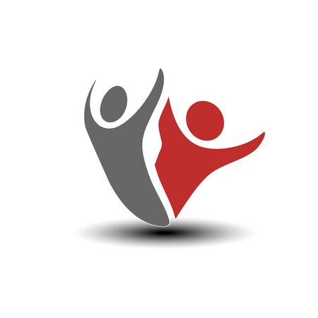 shadow people: Vector together joined people icon. Red and grey community symbol. Human sign of two partners. Silhouttes of body with transparency shadow. Symbol of succes. - illustration Illustration