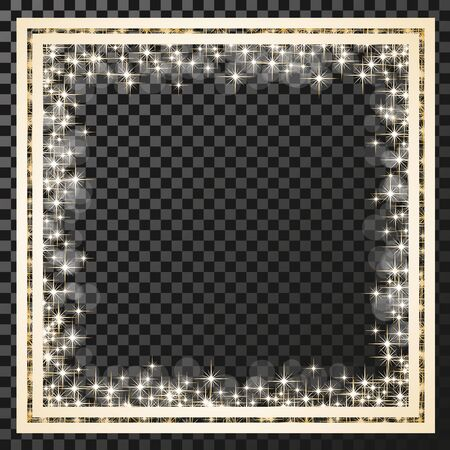 stars and symbols: Vector square frame with golden stars on the transparency background, sparkles golden symbols  - star glitter, stellar flare, shining reflections. - illustration Illustration