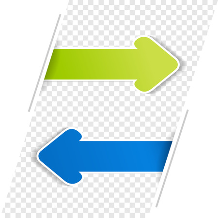 blue arrow: Vector arrow banners. Green and blue arrow on the transparency bacground. - illustration