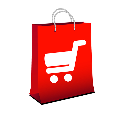 web shopping: Vector red shopping paper bag with simple white symbol of shopping cart - trolley. Item, button on web page. - illustration