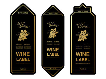 Vector black golden wine labels with grapes on white background. Rectangle frames on wine bottle. Decorative stickers. - illustration Çizim