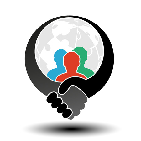 globe puzzle: Vector community symbol with handshake symbol. Simple silhouettes of men with handshake gesture and globe from puzzle. - illustration