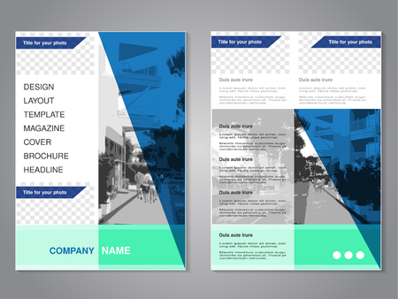 green street: Vector modern brochure with triangle design, abstract flyer with background of monochrome city street. Layout template. Aspect Ratio for A4 size. Poster of blue, green, grey, black and white color. Magazine cover. - illustration