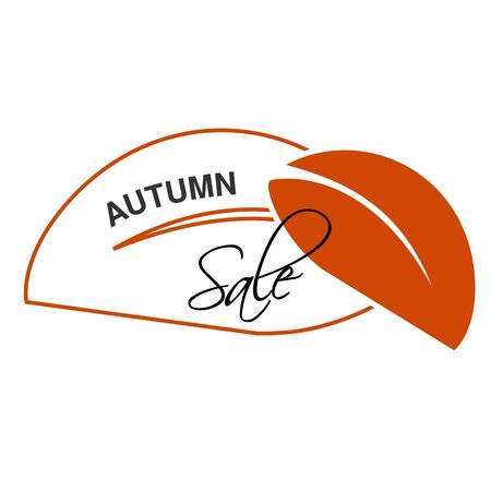 Vector label of Autumn sale.  Natural symbol with leaf for autumn offer. Nature icon. - illustration