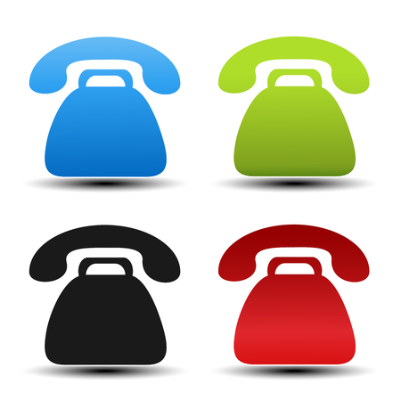 blue buttons: Vector old phone symbols on white background. Contact buttons, labels in blue, green, black and red color. Simple telephone stickers. - illustration