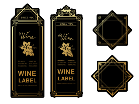 golden frames: Vector black golden wine labels with grapes on white background. Rectangle and star frames on wine bottle. Decorative stickers. - illustration