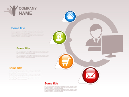 webpages: Vector profile of company.  Infographic template. Symbol of businessman with computer. Blue, green, orange and red button with Home symbol,  About us symbol, Product or Buy symbol and Contact symbol.  Designed for webpages. - illustration