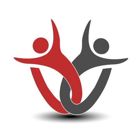 silhouttes: Vector together joined people icon. Red and grey community symbol. Human sign of two partners. Silhouttes of body with transparency shadow. Symbol of succes. - illustration Illustration