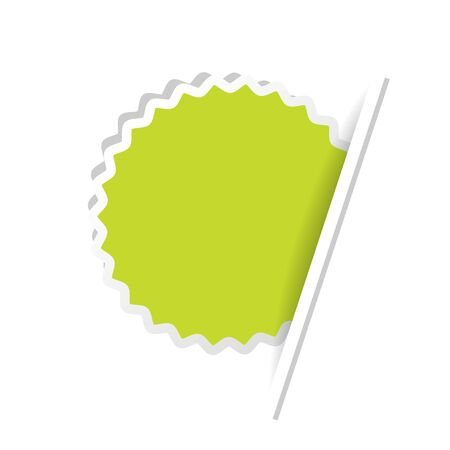 green paper: Vector green advertising label. Circular sticker inserted under the white paper page. - illustration