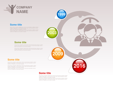 Vector timeline. Infographic template for company. Timeline with colorful milestones - blue, green, orange, red. Pointer of individual years. Design with clock and silhouettes businessmen,  community of business people on webpage. Profile of company. - il