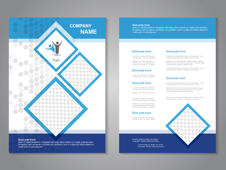Vector modern brochure, abstract flyer, simple dotted design with squares for your photos. Layout template. Aspect Ratio for A4 size. Poster of blue, dark blue and white color. Magazine cover. - illustration