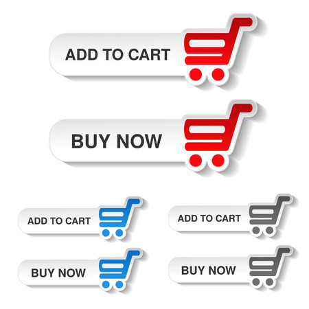blue buttons: Vector simple red, blue and grey shopping cart - trolley on white buttons. Rounded labels. Item add to cart and buy now for web page. - illustration Illustration