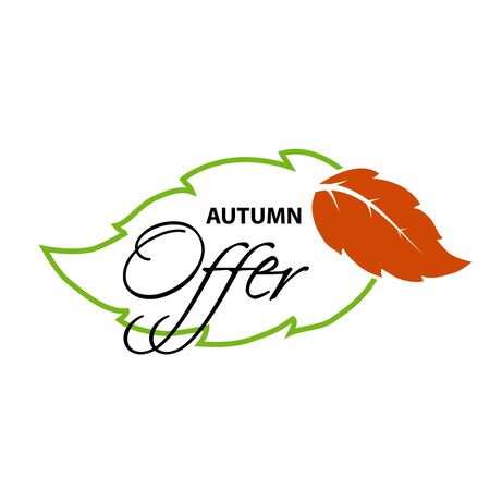offer icon: Vector label of Autumn offer.  Natural symbol with leaf for autumn sale. Nature icon. - illustration