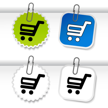 buy button: Vector simple shopping cart - trolley on green, blue and white stickers. Rounded and square labels. Item, buy button for web page. - illustration