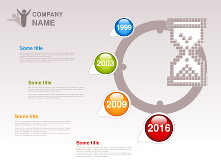 Vector timeline. Infographic template for company. Timeline with colorful milestones - blue, green, orange, red. Pointer of individual years. Graphic design with clock, hourglass. Profile of company. - illustration