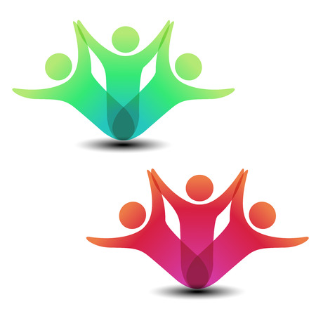 people shadow: Vector together joined people icon. Red and green community symbol. Human sign of two partners. Silhouttes of body with transparency shadow. Symbol of succes. - illustration