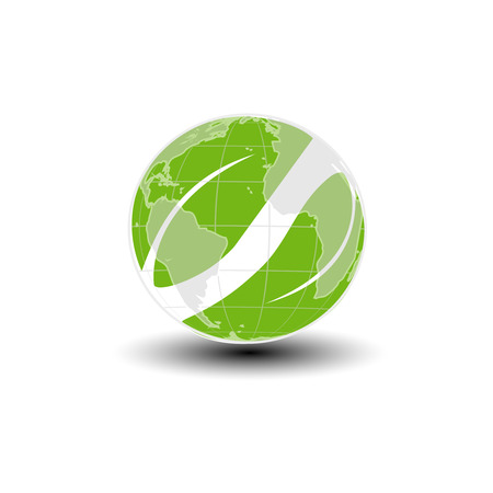 Vector world icon. Green earth and leaf symbol. Go green. Nature symbol. - illustration Illustration