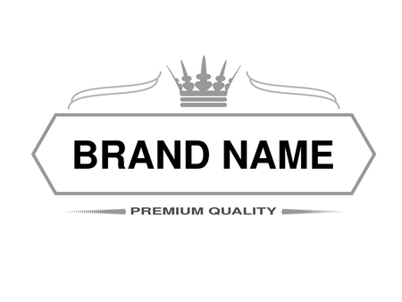 Vector line label. Rectangle frame for Brand name with symbol of crown. Monochrome design. - illustration