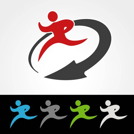 green arrow: Vector symbol rate of delivery package or speed icon of download and upload, silhouette  of running man, runner with arrow - illustration
