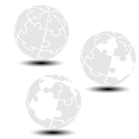 globe puzzle: Vector grey globe symbol created from puzzle.  Monochrome simple silhouettes. Symbol alliance of people in the world. - illustration