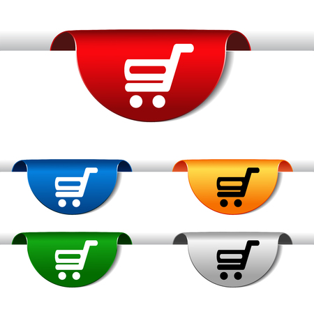 buy button: Vector simple shopping cart - trolley on green, blue, red, orange and silver label. Item, buy button for web page. - illustration