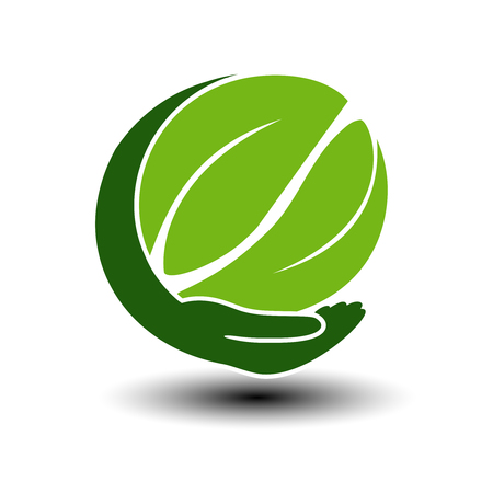 natural energy: Vector symbol of green energy.  Circular natural element created leaves with hand. Nature icon. - illustration