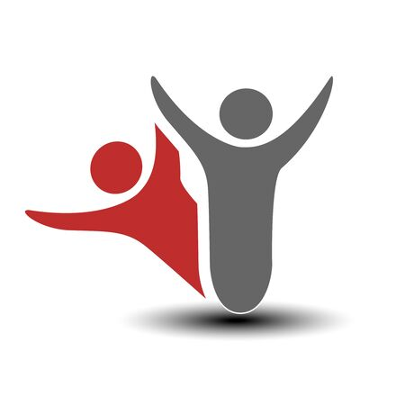 people icon: Vector together joined people icon. Red and grey community symbol. Human sign of two partners. Silhouttes of body with transparency shadow. Symbol of succes. - illustration Illustration