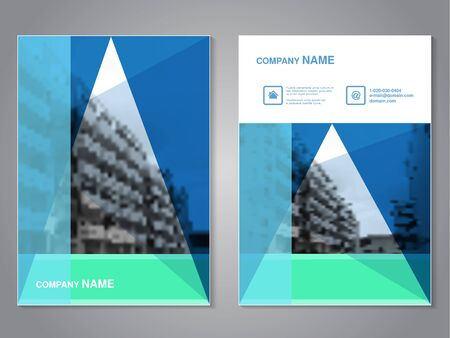 green buildings: Vector modern brochure with triangle design, abstract flyer with background of monochrome buildings. Layout template. Aspect Ratio for A4 size. Poster of blue, green, grey, black and white color. Magazine cover. - illustration