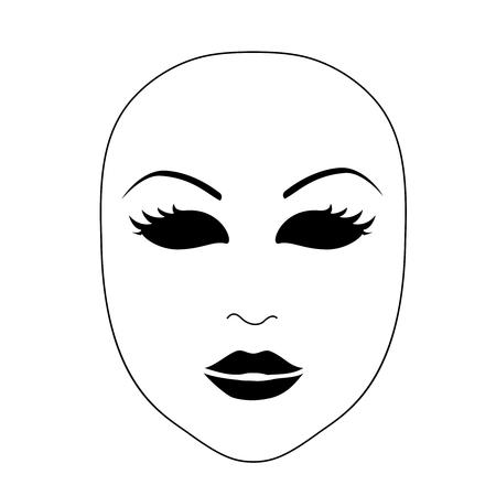 pantomima: Vector realista máscara del carnaval negro sobre fondo blanco. diseño monocromático. símbolo teatro simple. - ilustración