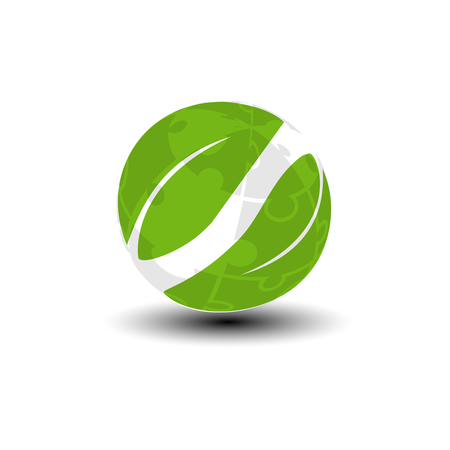 Vector world icon from puzzle. Green earth and leaf symbol. Go green. Nature symbol. - illustration Illustration
