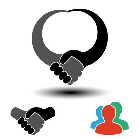 Vector community symbol with handshake symbol.  Simple silhouettes of men with handshake gesture. Profile circular labels. Sign of members or users on social network. The label for the best partnership. - illustration Illustration
