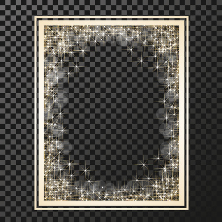 stars and symbols: Vector rectangle frame with golden stars on the transparency background, sparkles golden symbols  - star glitter, stellar flare, shining reflections. - illustration