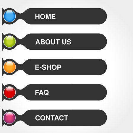 website buttons: Vector template for web use. Menu rectangle buttons with text of Home, E-shop, Service, About us, FAQ, Contact. Dark gey label. Navigation options. 5 steps on the website. - illustration