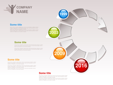 past: Vector timeline. Infographic template for company. Timeline with colorful milestones - blue, green, orange, red. Pointer of individual years. Graphic design with grey circular arrow. Profile of company. - illustration