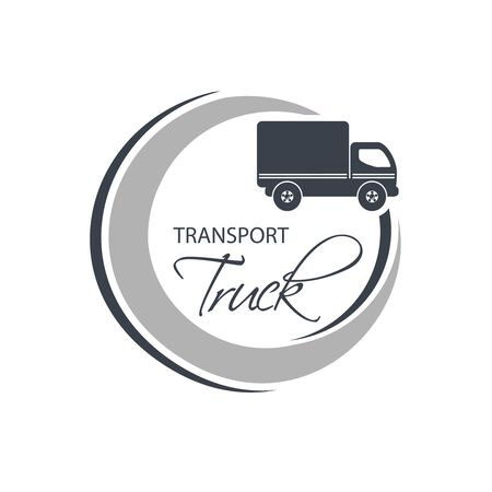 transport truck: Vector circular symbol of transport with silhouette of truck, lorry. Monochrome design. - illustration