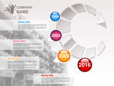 promote: Vector timeline. Infographic template for company. Timeline with colorful milestones - blue, magenta, orange, red. Graphic design with arrow and background of business building . Profile of company. - illustration