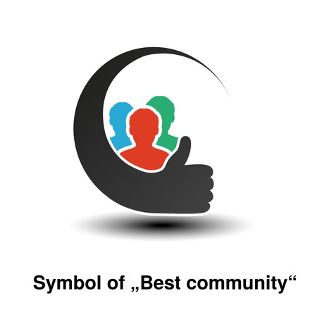 Vector community symbols. Simple silhouettes of man with best choice gesture. Profile circular labels. Sign of member or user on social network. The label for the best partnership. - illustration