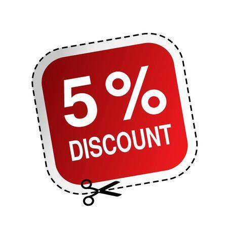 Vector rode reclame-label met tekst 5 korting. Vierkant sticker met een schaar. - illustratie