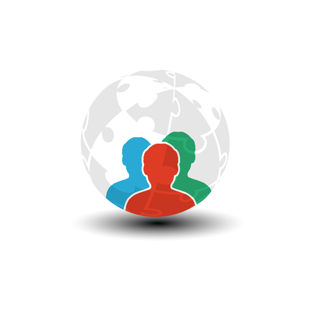 puzzle globe: Vector world icon, human symbol. Community of people in the world. Three men silhouettes with globe from puzzle. - illustration