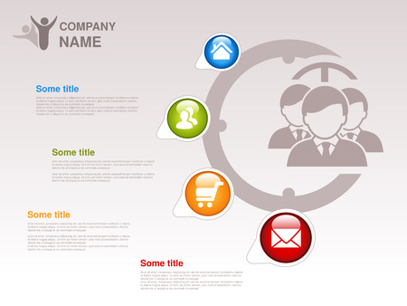webpages: Vector profile of company.  Infographic template. Symbol of businessmen with blue, green, orange, red button with Home symbol,  About us symbol, Product or Buy symbol and Contact symbol.  Designed for webpages. - illustration Illustration