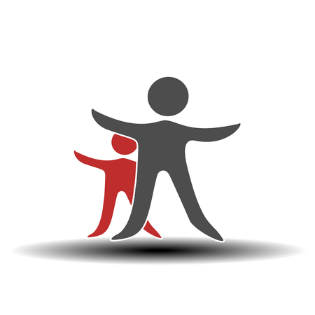 Vector together joined people icon. Red and grey community symbol. Human sign of two partners. Silhouttes of body with transparency shadow. Symbol of succes. - illustration Illustration