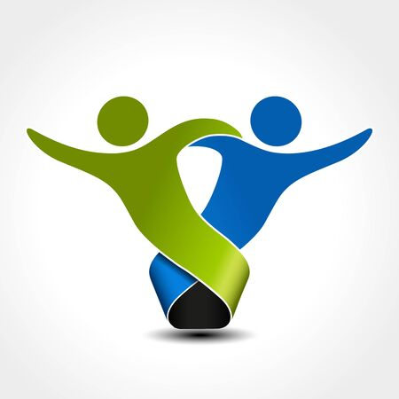 silhouttes: Vector together joined people icon. Green and blue community symbol. Human sign of two partners. Silhouttes of body with transparency shadow. Symbol of succes. - illustration
