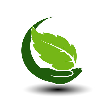 natural energy: Vector symbol of green energy.  Circular natural element with leaf and hand. Nature icon. - illustration