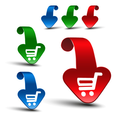 buy button: Vector red, blue and green 3D arrows with simple white symbol of shopping cart - trolley. Item, buy button on web page. - illustration