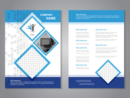 Vector modern brochure with monitor, abstract flyer, simple dotted design with squares for your photos. Layout template. Aspect Ratio for A4 size. Poster of blue, dark blue and white color. Magazine cover. - illustration