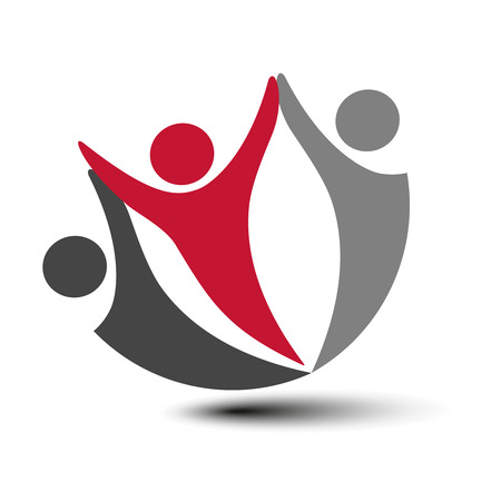 silhouttes: Vector together joined people icon. Red, grey and dark grey community symbol. Human sign of two partners. Silhouttes of body with transparency shadow. Symbol of succes. - illustration