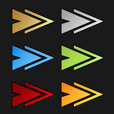 sign orange: Vector golden, silver, blue, green, red and orange arrow symbols on black background. Simple arrow buttons. Pointer on web. Sign of next, read more, play, go etc. - illustration