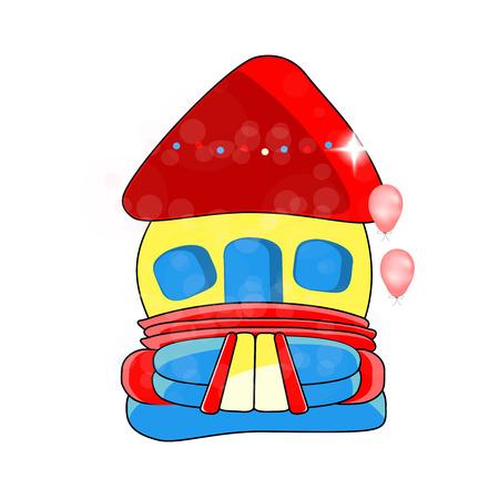 brincolin: Vector castillo hinchable - entretenimiento para niños, juguetes inflables - ilustración