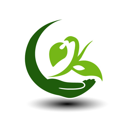 natural energy: Vector symbol of green energy.  Circular natural element. Hand and plant with leaf. Nature icon. - illustration Illustration